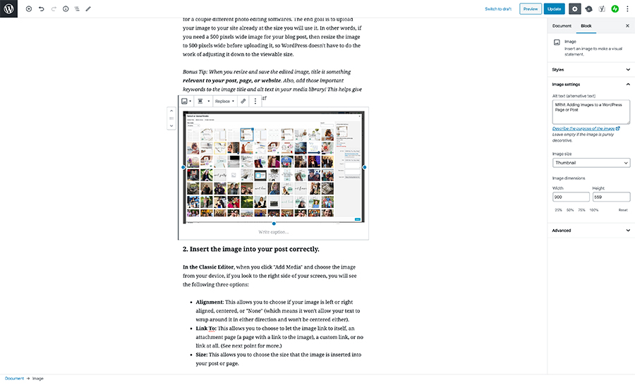 MRM: Adding Images to WordPress Post or Page