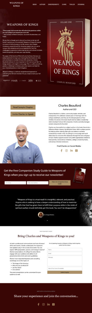 MRM Project Feature: Charles Beauford's Book Release Sales Page