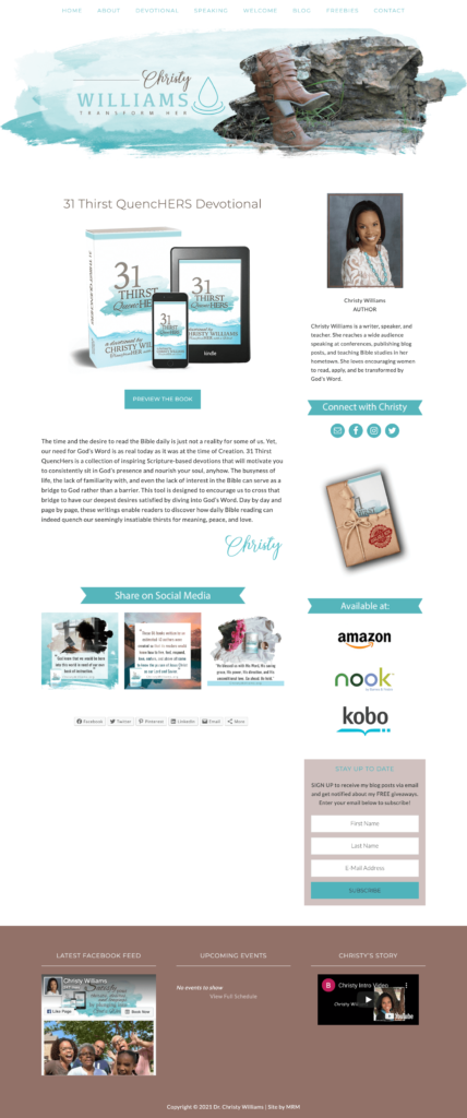 MRM Project Feature: Christy Williams Sales Page Design
